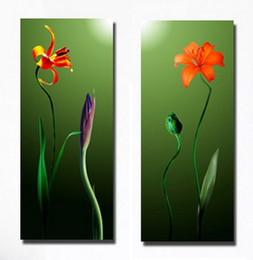 Wholesale Two Panel Canvas Paintings - Modern Beautiful Flower Paintings Giclee Print On Canvas Wall Decoration Art Set20140