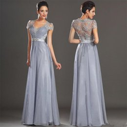 Wholesale Prom Dresses Short For Sell - Top Selling A-line Chiffon Evening Dresses Long Formal Dress for Special Occasions 2016 Short Sleeves Appliqued Beaded Prom Dress