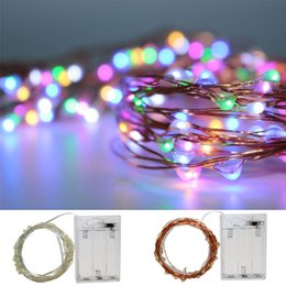 Wholesale Purple Led Light Strips - 2M Party Christmas led Battery Power Operated RGB Changeable copper wire(with silver color) String strips Christmas light Lamp