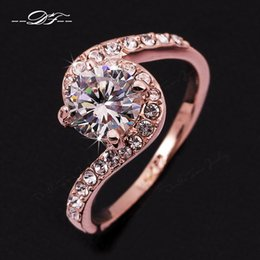 Wholesale Brand Design Jewelry - Twisted Design CZ Diamond Wedding Ring Wholesale 18K Gold Plated Austrian Crystal Brand Jewelry For Women Gift anel aneis DFR078