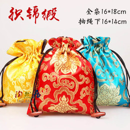 Wholesale Silk Gift Pouches Large - Classic Floral Large Jewelry Gift Bags Cloth Art Chinese Silk Drawstring Packaging Bead Necklace Bracelet Trinket Storage Pouch