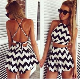 Wholesale Pullovers Cross - Black White Patchwork jumpsuits Summer Beach Striped Crop Top Shorts Twinset 2 pieces Set Black White Patchwork Cropped tracksuits