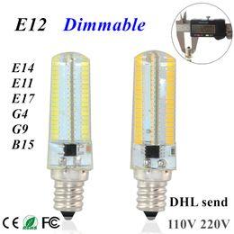 Wholesale E17 Candle - DHL Corn Light 152Leds Lampada Led E11 E12 e14 E17 g4 G9 b15 Lamp 127V 110V 100V Silicone Crystal Candle chandelier Christmas Lights