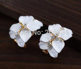 Wholesale Gardenia Flower Plant - New Hot Gardenia Earrings White Black Flower Earrings For Women Fashion Jewelry