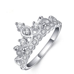Wholesale Fasion Rings - 925 Sterling Silver Korean Fasion Princess Crystal Crown Ring Lolita Flash Drilling Crown Women's Ring Jewelry