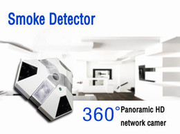 Wholesale Smoke Alarms Wholesale - IR night Version WiFi Smoke Alarm Camera Full HD 1080P 360 Degree Panoramic HD Network Camera Motion Detection Home Security Mini Camera DVR