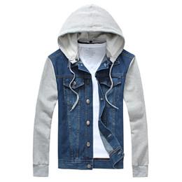 Wholesale Jaqueta Jeans Masculina - Fall-New arrivals fashion detachable hat hooded men jeans jacket vintage denim coat jaqueta masculina 2 colors M-4XL 5XL AT308