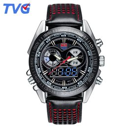 Wholesale military diving watches - Hot Selling Brand TVG Men Full Steel Watches LED Digital Quartz Chronograph Watch Waterproof Dive Sports Military Watches