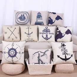 Fodera per cuscino di ancoraggio, marchio di navigazione cartoon Timone Anchor mappa del mondo Federa per cuscino da tiro a vela 240605 da