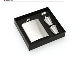 Wholesale Pocket Funnel - 7 oz Stainless Steel Hip Flask Sets jack Flagon With Funnel Cups wine Whisky Hip Flask Portable Flagon bottle Gift Box Packing