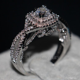 Wholesale Pure Silver Wedding Rings - ecalon Vintage Design Women Jewelry ring Simulated diamond Cz Pure Silver Jewelry Engagement wedding Band ring for women Gift
