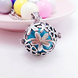 Wholesale Silver Harmony Ball Necklace - Fashion Hollow Out Locket Pearl Cage Pendants Necklace Silver Gold Clover Plum Blossom Pattern Harmony Ball Necklace for pregnant woman