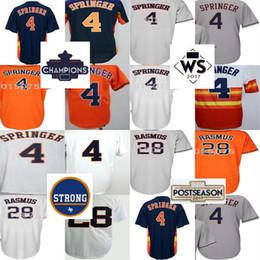 Pas cher 2017 Houston Strong WS Champions Patch Hommes Femmes 4 George Springer 28 Colby Rasmus Blanc Gris Orange Baseball Jerseys ? partir de fabricateur