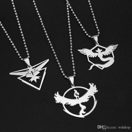 Wholesale Mystic Necklace - New Poke Go Necklace Game Anime Stainless Steel Team Valor Mystic Instinct Logo Bead Chain For Women And Men Fans