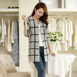 Wholesale Sexy Plaid - Wholesale-2016 New Spring Hot sale 100 cotton women cardigan show sexy mohair plaid sweater upscale classic women cardigan christmas gift