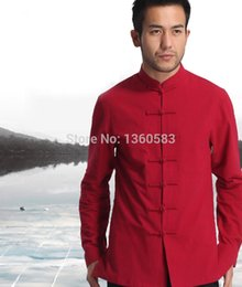 Wholesale Classic Chinese Clothing - Wholesale-Red Men's Cotton Linen Long sleeve Kung Fu Shirt Classic Chinese Style Tang Clothing Size S M L XL XXL XXXL hombre Camisa Mim808