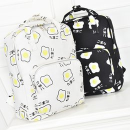 Wholesale Harajuku School Bags - harajuku bags 2017 korean backpack new sport kawaii Japanese poached egg portable shoulder bag school bags schoolbag backpacks