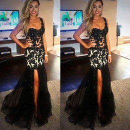 Wholesale Dress One Shoulders - Side Split White and Black Prom Dresses One Shoulder Lace Appliques Illlusion Bodice Sleeveless Sweep Train Tulle Skirt Evening Gowns