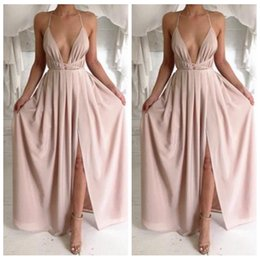 Wholesale Halter Blush Prom - 2017 New Fashion Blush Pink Split Simple Sexy Prom Dresses With Spaghetti Straps Backless Evening Dress Evening Formal Gowns