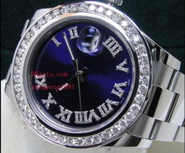 Wholesale Mens Watc - Top Quality Luxury AAA Brand Sapphire 41mm 116334 Blue Diamond Dial Bezel 18kt White Gold with Paper Automatic Menchanical Mens Men's Watc