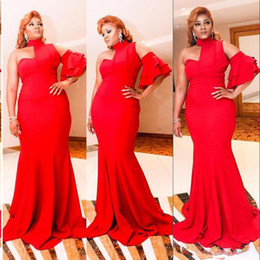 Wholesale Dress Back Designs Halter - Sexy Design Red Evening Gowns Saudi Arabia Halter Mermaid Prom Dresses With One Short Sleeve Simple Long African Women Vestidos