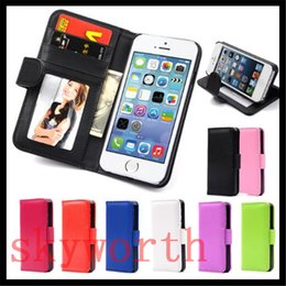 Wholesale S3 Flip Cover White - Flip Wallet Leather Case Cover W  Card Holder Photo Frame For iphone 6 6S 4S 5S Samsung Galalaxy S3 S4 S5 Mini Touch5