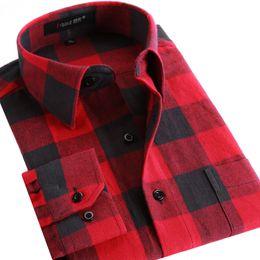 Wholesale Shirt Flannel - Wholesale- Men Flannel Plaid Shirt 100% Cotton 2016 Spring Autumn Casual Long Sleeve Shirt Soft Comfort Slim Fit Styles Brand Man Clothes