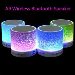 2019 chamadas gratuitas pc Atacado- Novo A9 LED Mini Sem Fio Bluetooth Speaker A9 TF USB FM Altifalantes de Áudio Musical Portátil chamada Mão-livre Para telefone PC com Mic chamadas gratuitas pc barato