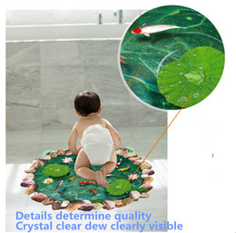 Wholesale Green Wall Deco - Free shipping wall stickers, bathroom is deco, bedroom wall stickers, lovely lotus pond ground color stickers 90*60CM, waterproof stickers