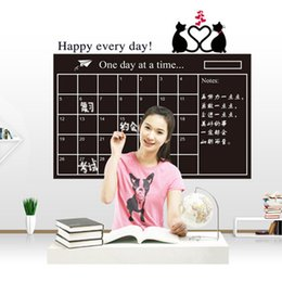 Wholesale Paper Wall Calendar - 60*95CM # black This Month Monthly Calendar Chalkboard Paper Chalk Boards Wall Sticker Decals Removable For Student Baby Nursery AY1050