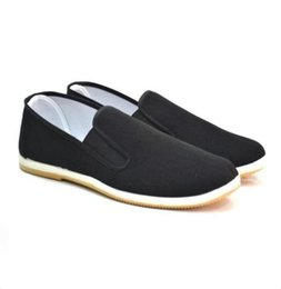 Wholesale Beijing Spring - Chinese Kung Fu Shoes Bruce Lee Style Handmade Beijing Cloth Shoes Flats Men Black Boat Shoe Breathable Father Shoes Casual