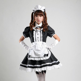 Wholesale Gothic Lolita Dresses - Sexy French Maid Costume Sweet Gothic Lolita Dress Anime Cosplay Sissy Maid Uniform Plus Size Halloween Costumes For Women