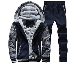Wholesale High Waist Long Sleeve Cardigan - Tracksuit Men's Clothes Autumn Winter Camouflage Thick Hooded Zipper Jacket+pants Young Men Wear Sprotsuit Teenagers Clothing Fleece Casual