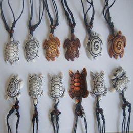Wholesale Turtle Necklace Bone - Wholesale-Ethinc Tribal Hawaiian Style Faux Yak Bone Carved Sea Turtle Surfer Pendant Necklace Adjustable