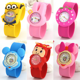 Wholesale Cartoon Slap Watches For Kids - Wholesale-Free shipping 5pcs Eco-friendly silicone slap bracelet watch for Kids fashion 3d cartoon watch