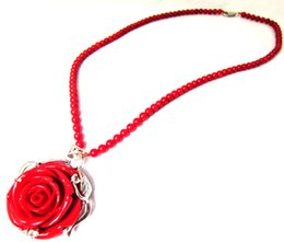 Wholesale Coral Pendant Jewelry - New Women Party Red Big Rose Pendant Necklace Bling Crystal Beaded Imitation Coral Charm Girl Necklace Fashion Jewelry New Year Gift