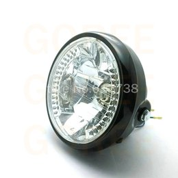 Wholesale Universal Vintage - 6 1 2 '' Motorcycle headllamp 7 inches Round Headlights assembly blue turn signal 26 LEDS 35W amber for vintage bobber