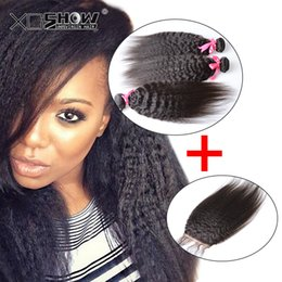 yaki perm human hair weave 2018 - Raw Indian best quality kinky straight weave with closure Indian perm yaki human hair with closures cheap italian yaki closure with bundles
