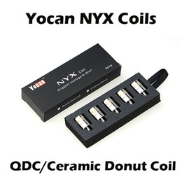 Wholesale e cigarette atomizer replacement - Authentic Yocan NYX Ceramic Donut Coils Quartz Dual Coils QDC For Yocan NYX Wax Atomizer 5pcs pack E Cigarette Replacement Coils
