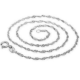 Wholesale Sterling Silver Wave - 925 sterling silver necklace link items 18 inch 45 cm corrugated wave chain necklaces wedding vintage charms