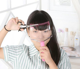 Wholesale Hair Styles Fringes - DIY Bangs Cut Supporter Home Use Hair Trimming Comb Styler Women Lady Makeup Kit Front Trimmer Fringe Off Storage Box Salon Styling Tool Kit
