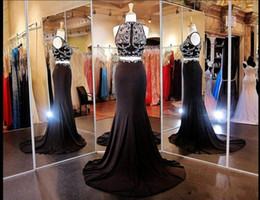 Wholesale Evening Wear Formal Dress - Real Picture Black Mermaid Two Pieces Evening Dresses 2016 Jewel Beaded Crystal Top Sweep Train Prom Formal Dress Pageant Gown Wear Custom