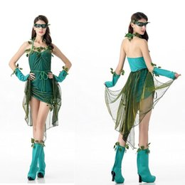 Wholesale Green Elf Costume - The new 2016 beautiful faery role playing COS green elves elven spirit fairy play