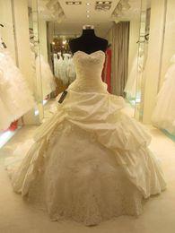 Wholesale Curve Training - Custom Made! NEW Ball Gown Curved Neckline Taffeta Organza Wedding Dresses Bridal Gown