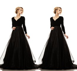 Wholesale Cheap Fast Shipping Dresses - Simple Black Long Sleeves Evening Dresses V Neck Spandex Tulle Floor Length Cheap Prom Dresses Fast Shipping Evening Gowns