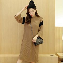 Wholesale Coarse Yarn - New Women's Fashion Coarse Yarn Loose Long Sweaters Female Stripe Patchwork Long Sleeve Pullovers Knitwear Sweater Dresses