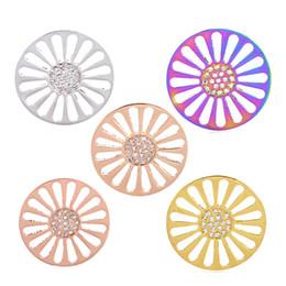 Mi moneda bijoux en Ligne-Pièce en or rose hommes femme apte à chandail pendentif colliers bijoux médaillons flottants pendentifs fleur Mi Moneda coin rondes avec cristal