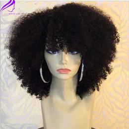 Perruques courtes en dentelle afro en Ligne-Nouveau Afro Kinky Curly Lace Front perruques courte bob Black Synthetic Lace Front perruque mignonne haute qualité synthétique perruques pour femme noire