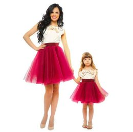 Wholesale Mini Skirts Satin Girls - Best Mother And Daughter Matching Prom Dresses Special Occasion Party Gowns Short Burgundy Short Mini Skirt Formal Flower Girls Dress Cheap
