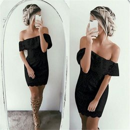 Wholesale Strapless Tight Black Dress - 2016 New Arrival Sexy One Word Led Strapless Brand Lace Dress Women Summer Fashion White and Black Package Bud Tight Dresses